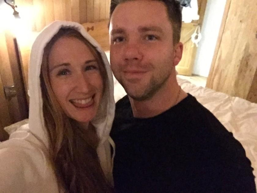 Karen & Matt on their UK Honeymoon at the Treehouse at Marklye